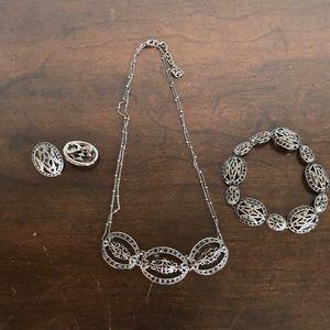 Monet deco 3 piece set necklace bracelet earrings